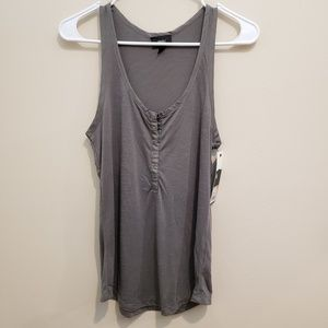 NWT Gray Mossimo Snap Front Tank Top - S